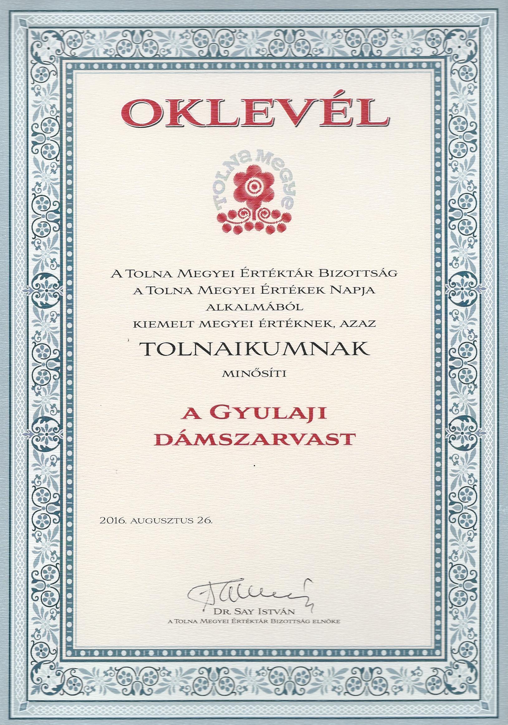 Oklevél_A_gyulaji_dám_2016.08.26.